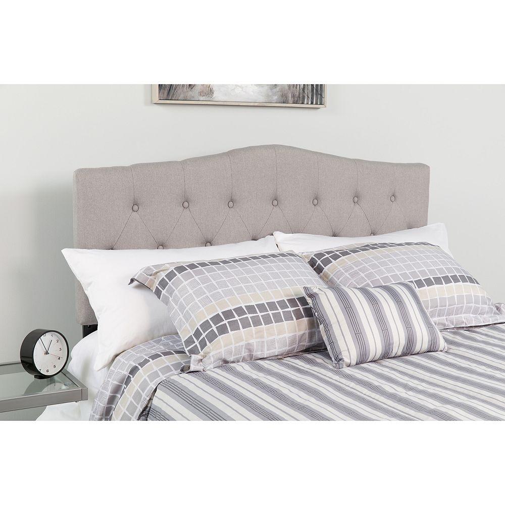 Flash Furniture Tête de lit Cambridge double touffetée et rembourrée en tissu gris clair