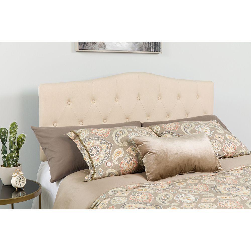Flash Furniture Tête de lit Cambridge grand touffetée et rembourrée en tissu beige