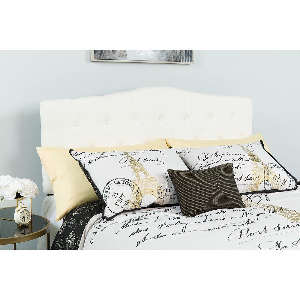 Flash Furniture Tête de lit Cambridge à une place touffetée et rembourrée en tissu blanc