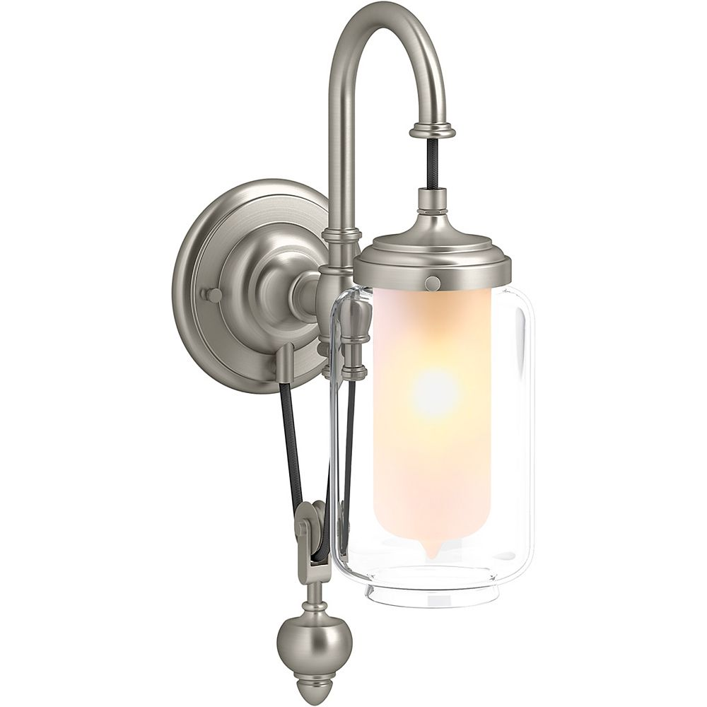KOHLER Artifacts Single Wall Sconce with Adjustable Cord in Vibrant Brushed Nickel