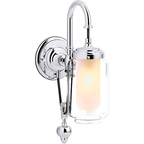 Artifacts Single Wall Sconce with Adjustable Cord in Polished Chrome