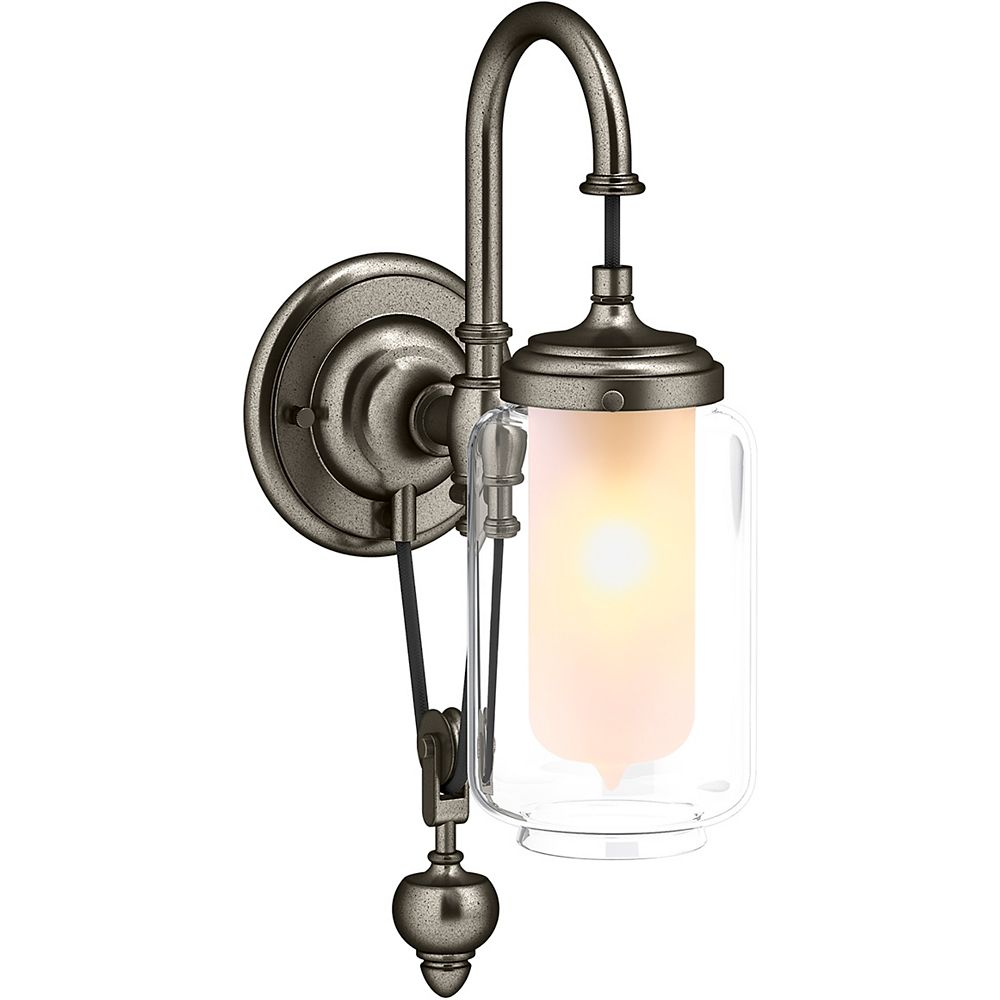 KOHLER Artifacts Single Wall Sconce with Adjustable Cord in Vintage Nickel