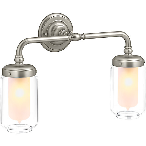 Artifacts Double Wall Sconce in Vibrant Brushed Nickel