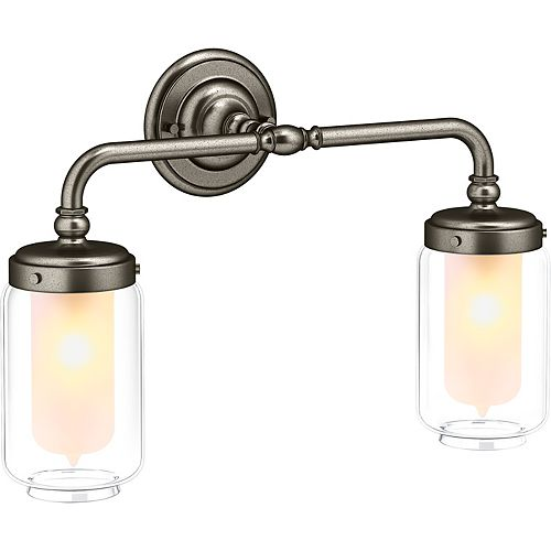 Artifacts Double Wall Sconce in Vintage Nickel