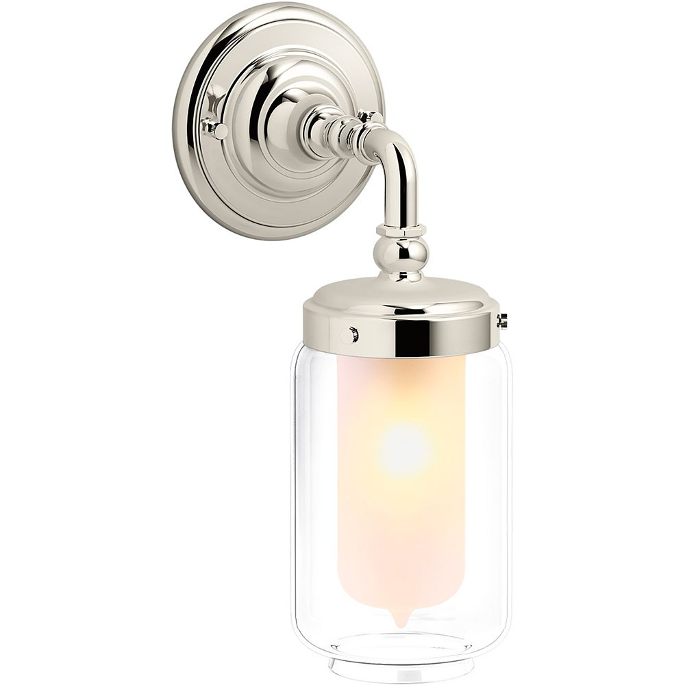 KOHLER Artifacts Single Wall Sconce in Vibrant Polished Nickel
