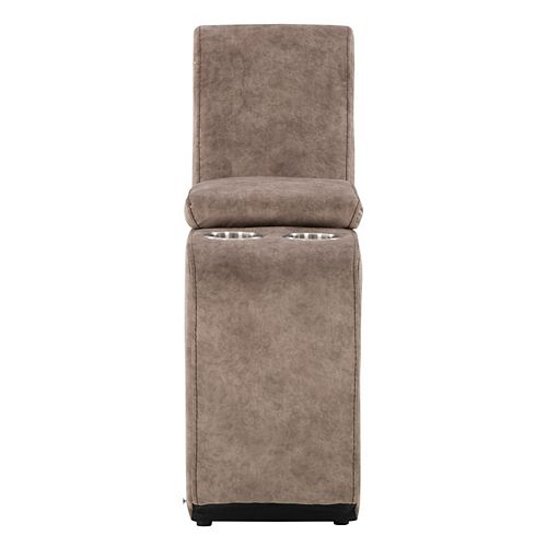 Corliving LRB-321-D Modular Console with Storage and Cup Holders for Sectional Sofa, Taupe Fabric
