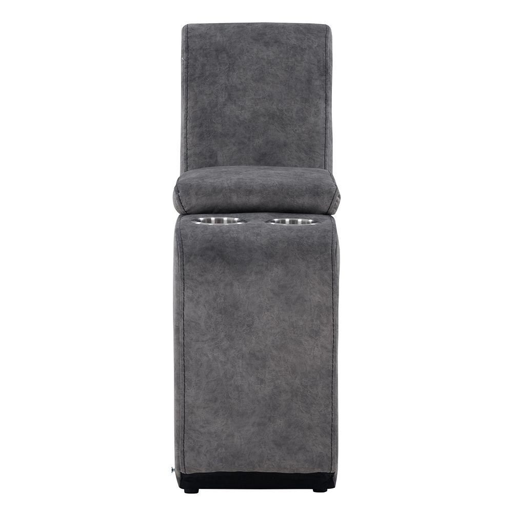 Corliving Console modulaire avec rangement et porte-gobelets pour canapé sectionnel, tissu gris foncé