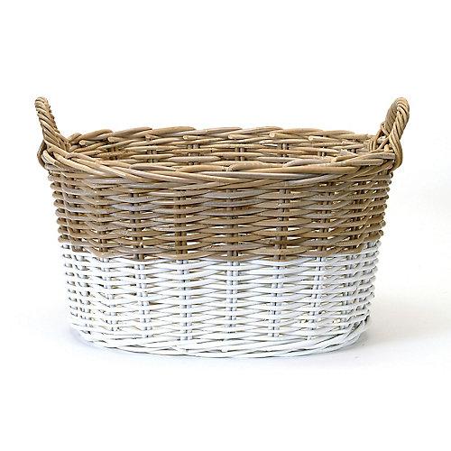 Oval Two Tone Rattan Basket