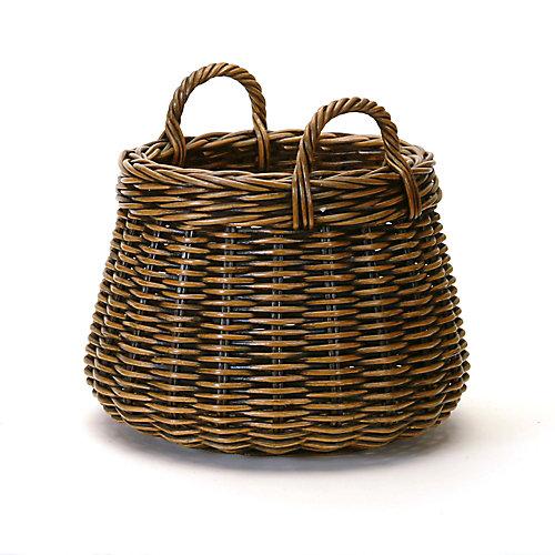 Antique Brown Rattan Plant Basket