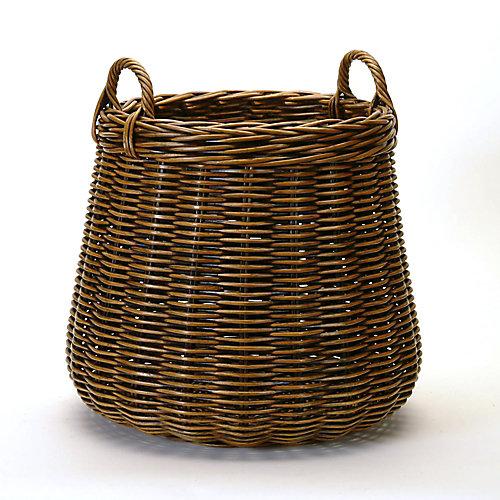 Round Antique Brown Rattan Plant Basket