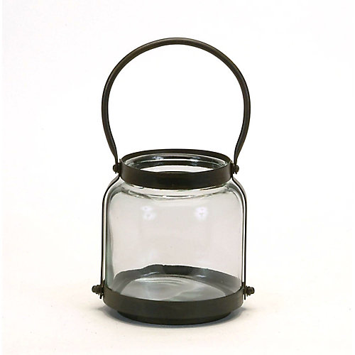 Small Glass and Metal Jar with Handle