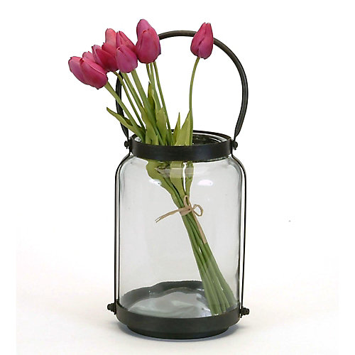 Med Glass and Metal Jar with Handle