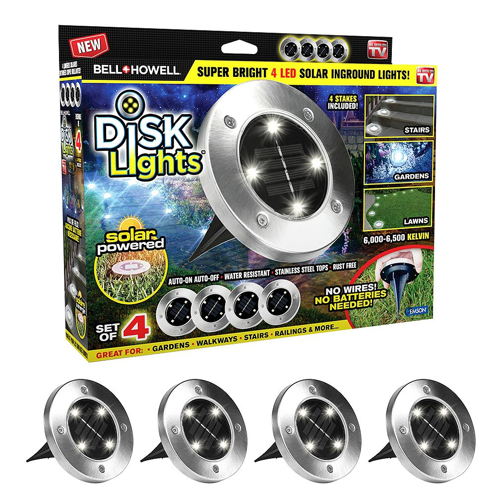 Bell + Howell Solar Powered Silver Stainless Steel Outdoor Integrated LED Path Disk Lights (Set of 4)