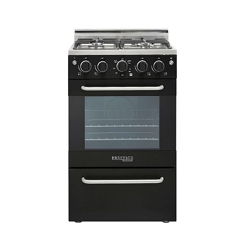 20 in. 1.6 cu. ft. Gas Convection Range Sealed 4-Burners in Black