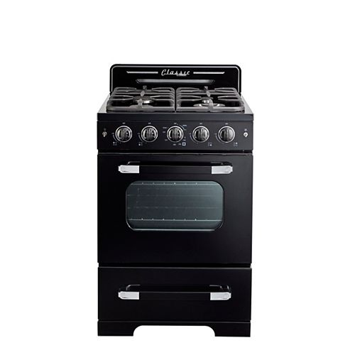 "Classic Retro 24"" 2.9 cu. ft. Gas Range with Convection Oven in Midnight Black"