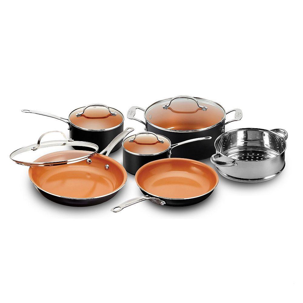 Gotham Steel 10 Piece Non Stick Ti Ceramic Round Cookware Set with Lids