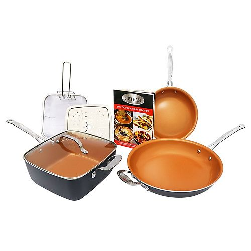 Gotham Steel 7 Piece Non Stick Ceramic Cookware Set with Lids