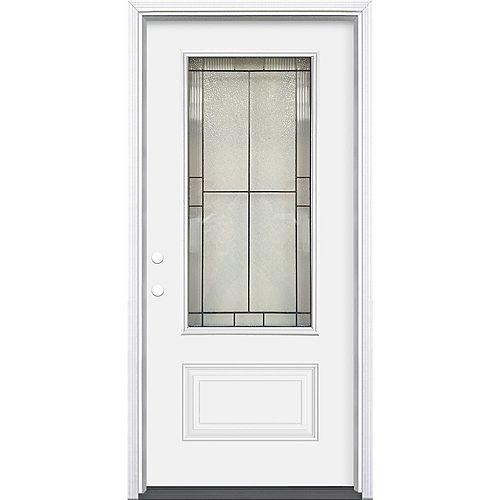32-inch x 80-inch x 4-9/16-inch Antique Black 3/4 Lite Right Hand Entry Door