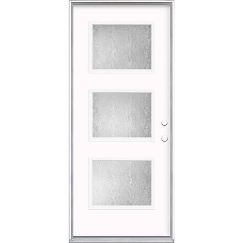 Masonite Porte pré-pendue extérieure de 32 pouces x 80 pouces x 49/16 pouces 3 Lite Equal Left Hand