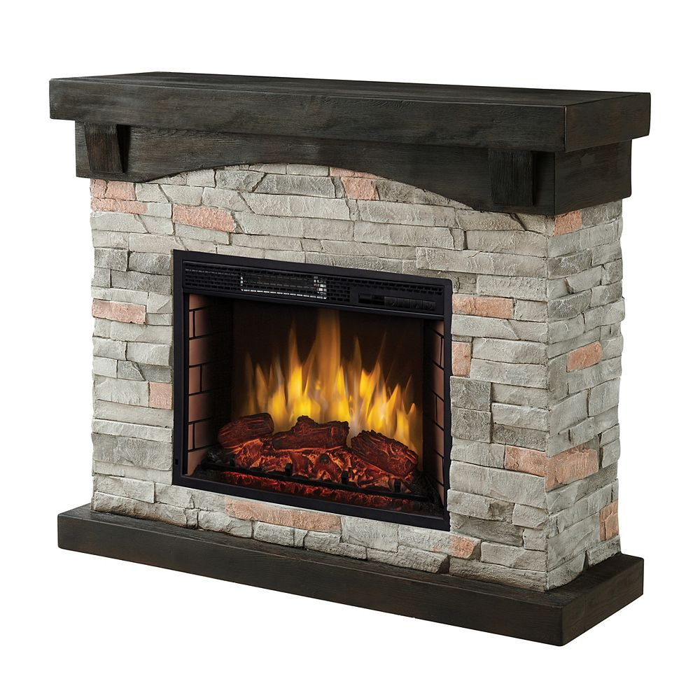 """Pleasant Hearth 42"""" Sable Mills Electric Fireplace -Grey Faux Stone  Mantel"""