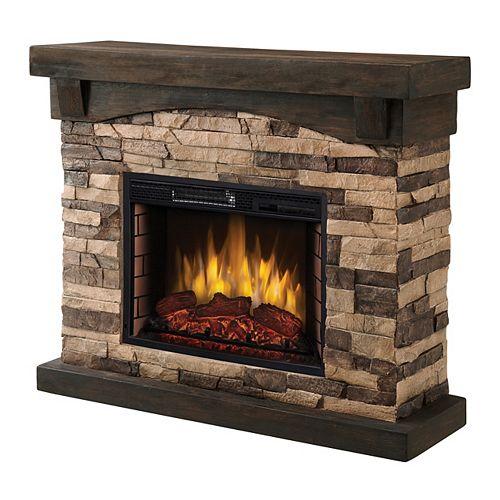 "42"" Sable Mills Electric Fireplace -Tan Faux Stone Mantel"