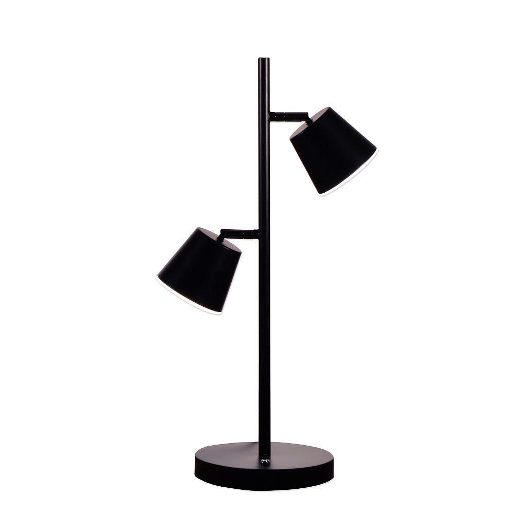Dainolite Lampe de table à 2 lumières à DEL, fini noir mat