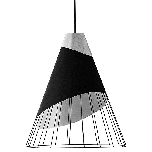 Luminaire suspendu à 1 lumière avec capuchon en tissu d'acier et abat-jour relié noir sur argent