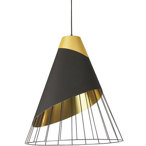 Luminaire suspendu noir à 1 lumière avec capuchon en tissu doré et abat-jour noir sur doré