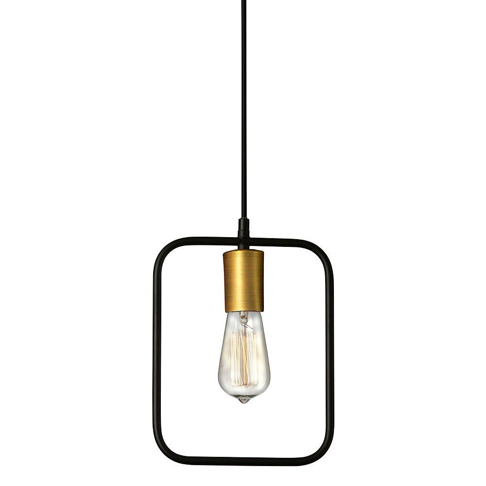 Dainolite Luminaire suspendu à 1 lampe, cadre rectangulaire noir mat & bronze antique