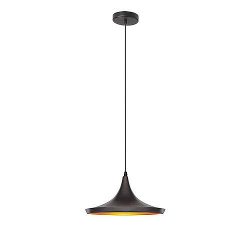 Luminaire suspendu  à 1 lumière, noir mat / or