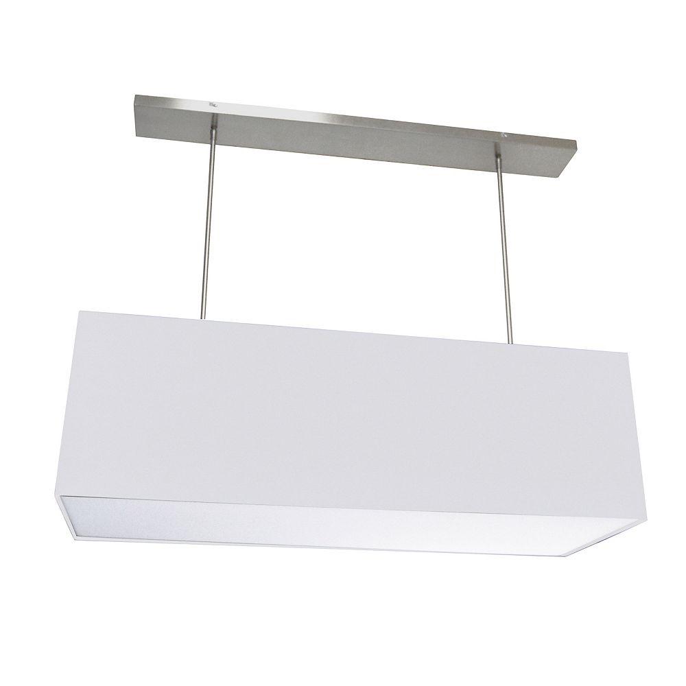 Dainolite Luminaire suspendu rectangulaire surdimensionné à 4 lumières, grand blanc avec diffuseur en tissu