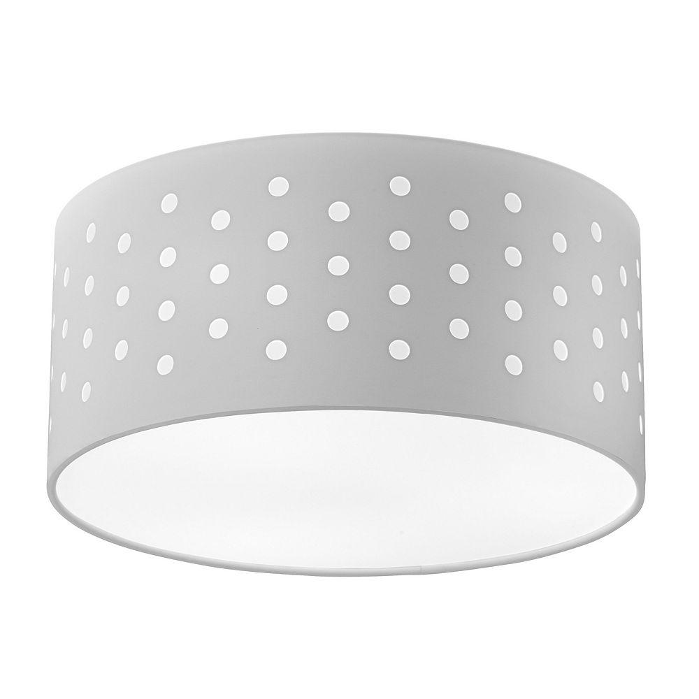 Dainolite Tambour Semi-Flush à 3 Lumières - Blanc / Blanc