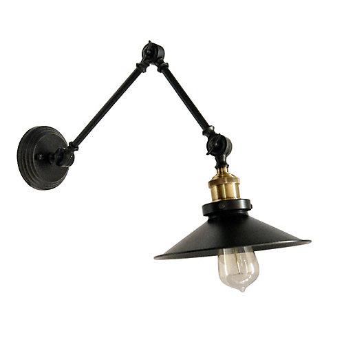 1 Light Incandescent Adjustable Wall Lamp, Black Finish