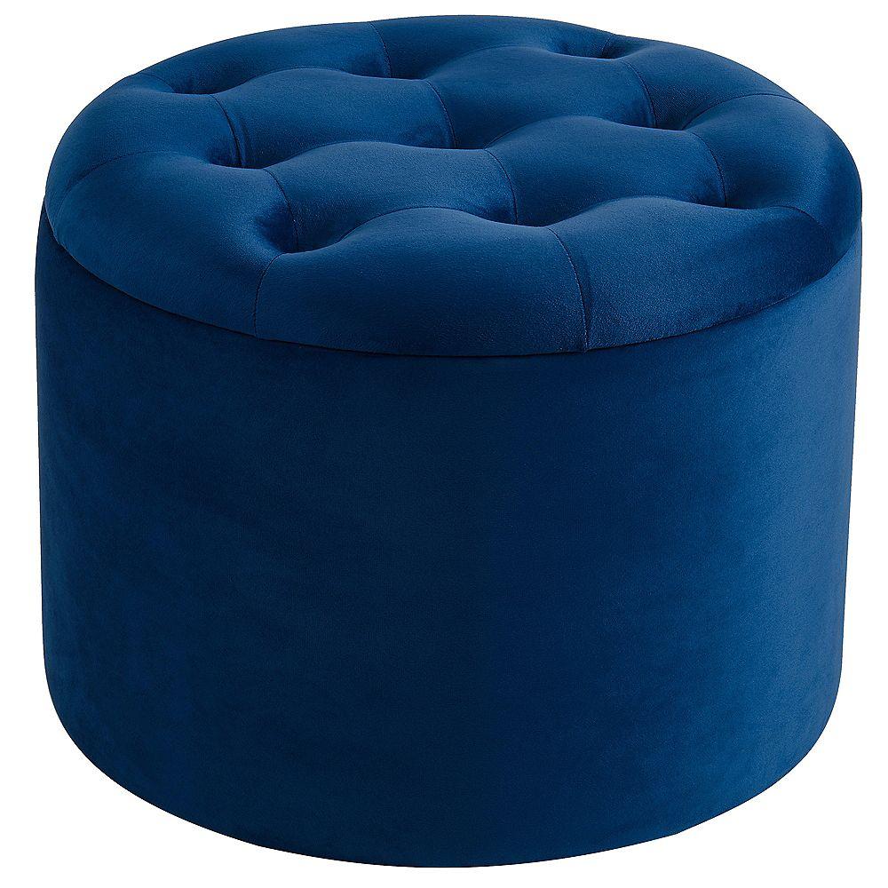 round storage ottoman blue