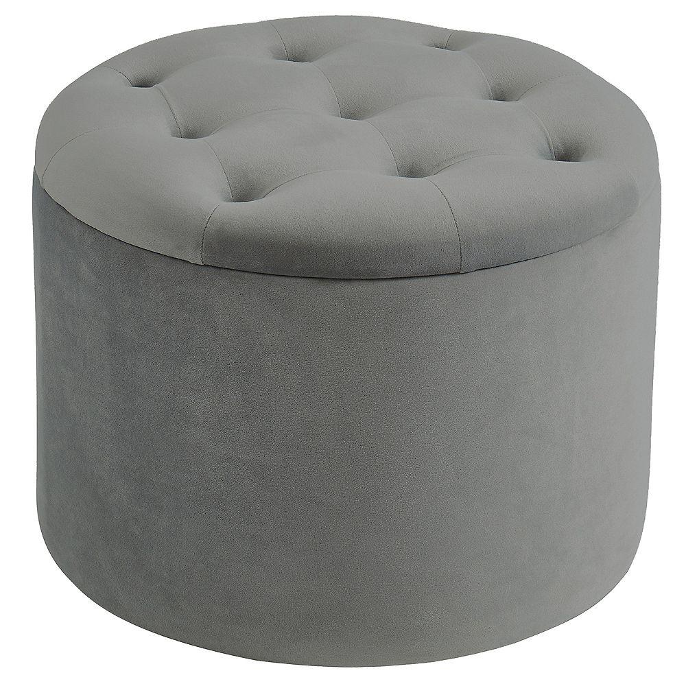 Nspire Round Storage Ottoman Grey The Home Depot Canada