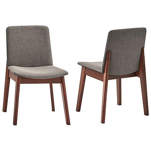 Side Chair-Set of 2, Walnut/Grey