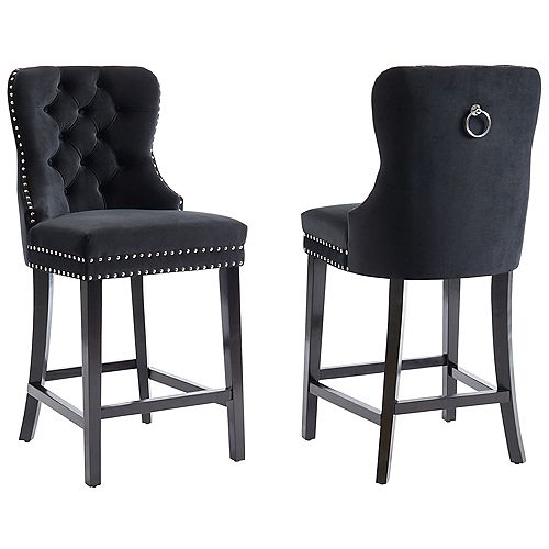 26-inch Counter Stool-Set of 2, Black