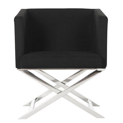 Celine Polyester Cross Leg Chair in Black/Chrome