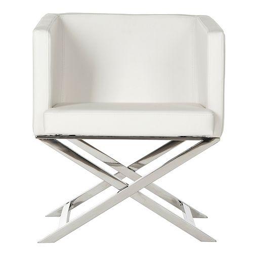 Celine Bonded Leather Cross Leg Chair in White/Chrome