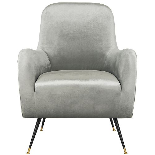 Noelle Polyester Accent Chair in Light Gray
