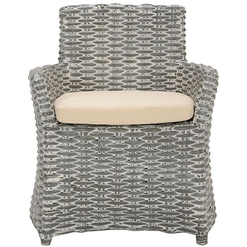 Cabana Rattan/Cotton Arm Chair in Gray/Beige