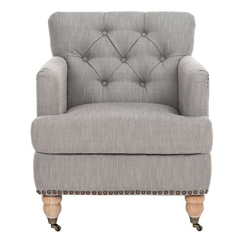 Colin Linen Club Chair in Stone Gray/White Wash