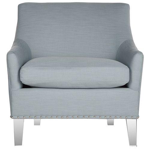 Marlon Cotton/Linen Club Chair in Teal/Clear