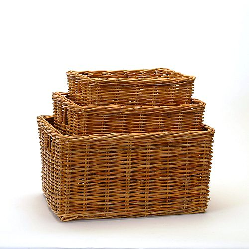 Honey Rattan 3 Piece Basket Set