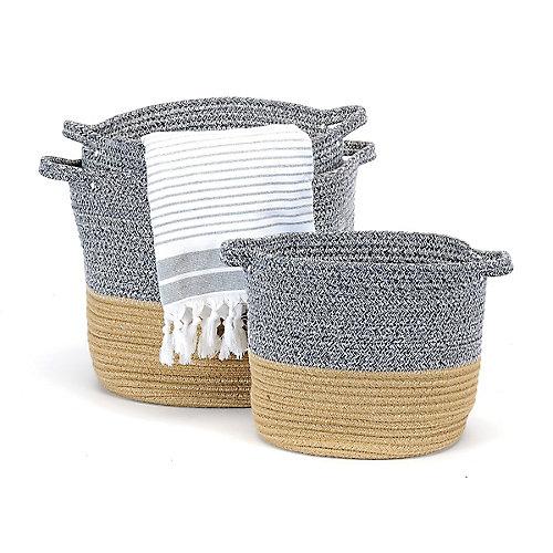 Ensemble de 3 paniers de rangement, gris