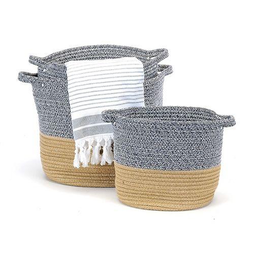 3 Piece Home Storage Basket Set, Grey
