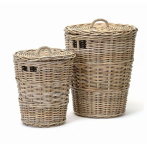 2 Piece Rattan Laundry Hamper Set