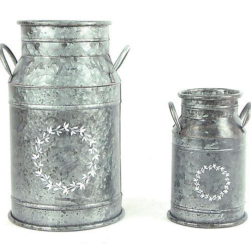 Set of 2 Galvanized Milk Cans