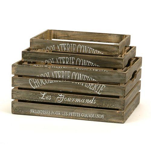 Chocolaterie 3 Piece Wood Crate Set