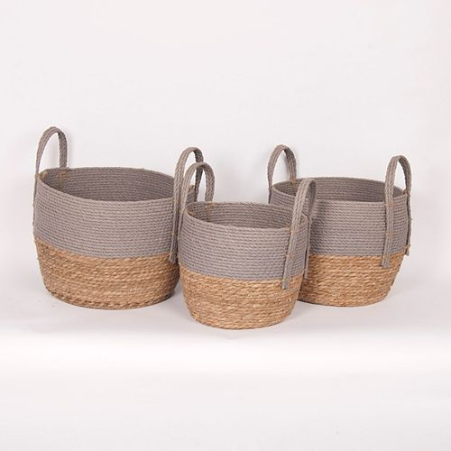Set of 3 Grey/Natural Straw Baskets